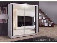 **ALL OVER UK** NEW 2 OR 3 DOOR SLIDING WARDROBE WITH MIRROR SHELVES