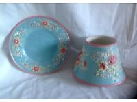 Yankee Candle Shade & plate ROSES & LILLIES on AQUA background for large / medium jar