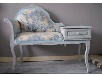 Shabby Chic Vintage Telephone Seat Chair Table Chaise Longue Toile De Jouy