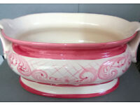 vintage ceramic cranberry and white dish