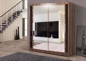 GERMAN MIRRORED SLIDING DOORS WARDROBE IN 4 COLOURS - BRAND NEW