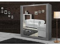 BRAND NEW MODERN DOUBLE MIRRORED SLIDING WARDROBE 2 OR 3 DOOR IN BLACK WHITE WALNUT OAK WENGE GREY