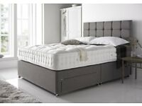 Sameday Delivery PREMIUM QUALITY SOLID WOOD TIMBER Divan BED/ PREMIUM QUALITY DEEP PADDED HEADBOARD