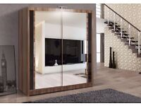 **LIMITED OFFER** -BRAND NEW - CHICAGO 2 DOOR SLIDING WARDROBE WITH FULL MIRROR -EXPRESS DELIVERY
