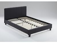 MODERN DESIGNER SINGLE DOUBLE KING SIZE PU LEATHER BED FRAME IN BLACK COLOR WITH MATTRESS OF CHOICE