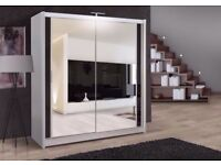 BRAND NEW 2 OR 3 DOOR MODERN DOUBLE MIRRORED SLIDING WARDROBE IN BLACK WHITE WALNUT WENGE COLOURS