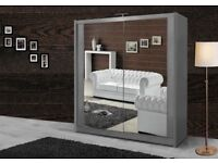 🌺🌺 BEST PRICE SALES!-🌺 BERLIN FULL MIRROR 2 DOOR SLIDING WARDROBE BLACK WHITE WALNUT WENGE