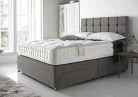 FREE DELIVERY FREE Extra High Designer Headboard PREMIUM QUALITY MATTRESS 8Colours Double Bed King