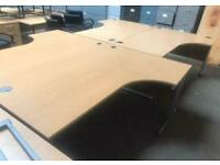 1800mm Right Curved Office Desk - Beech