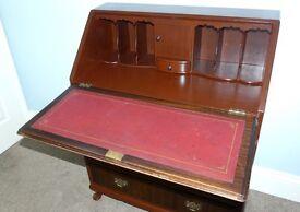 Very unique Vintage / Retro Solid Wood Bureau original key/inserts/leather writing area 3 drawers
