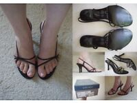 NINE WEST Black Leather Evening Party High Heel Sandals Shoes 5.5 38.5 BOXED £55