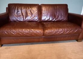 2 Brown Leather sofas for sale ,3 seater and 2 seater .
