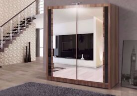 🔴🔵SAME DAY DELIVERY🔴🔵 Brand New Full Mirror 2 Door Sliding Wardrobe w/ Shelves, Hanging 4 colors