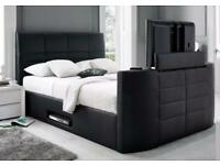 DOUBLE GAS LIFT STORAGE LEATHER TV BED FRAME + FREE QUILT £299 *HOLDS UP TO A 40 INCH TV