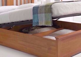 🔥💖💥SAME DAY DROP🔥80% OFF❤ Brand New Malmo Oak Finish Wooden Ottoman Storage Bed Double/King Size