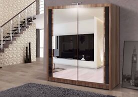 ▓▒░▓▒░WALNUT FINISH ▓▒░▓▒░NEW Chicago 2 DOOR FULL MIRROR SLIDING DOOR WARDROBE with shelves and rail
