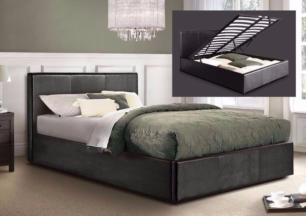 Brand New Ottoman Storage Gas Lift Up Bed Frame Black Brown Single Double