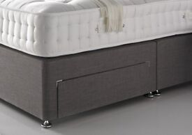 Deliver Today PREMIUM QUALITY SOLID WOOD TIMBER Divan BED/ PREMIUM QUALITY DEEP PADDED HEADBOARD