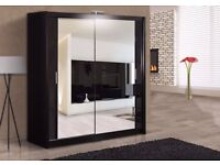 New Black Wardrobe With Sliding Doors Fully Mirrored Cheap Price Gumtree