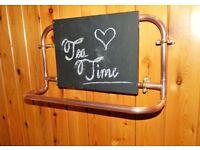copper pipe tea towel hanger