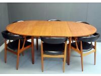 Includes delivery within M25 1960s 6 Danish Teak Dining Chairs & Table Johannes Andersen BA113 BRDR