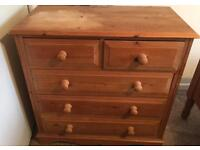 Pine chest of draws plus one bed side cabinet