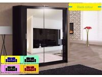 ***London Style *** Wardrobe Full Mirror 2 Door 250CM Colors Black White Wenge Walnut