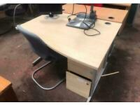 1200mm Right Waved Office Desk - Beech