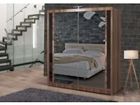 BRAND NEW CHICAGO 2 DOOR SLIDING WARDROBE WITH FULL MIRROR IN BLACK WHITE WALNUT WENGE