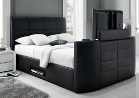 BRAND NEW LEATHER FRAMED TV BED WITH GASLIFT STORAGE + DELIVERY