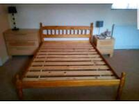 Solid pine wood double Bed (delivery available)