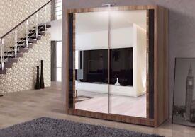 🔥💗120 150 180 203 250 cm💥💗 Chelsea Full Mirror 2 Door Berlin Sliding Wardrobe w Shelves, Hanging