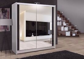 Brand New German Chicago Wardrobe With Sliding Doors Fully Mirror - Express same day delivery