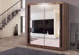 WALNUT 2 DOOR SLIDING WARDROBE WITH FULLY MIRRORED AVAILABLE IN WHITE/BLACK COLOUR