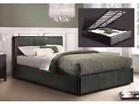 DOUBLE LEATHER BED WITH OTTOMAN STORAGE BED with orthopaedic mattress