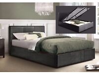 """Brand New Double Gas Lift Storage Leather Bed £129, Bed Frame And 9"""" Thick Deep Quilt Mattress £199"""