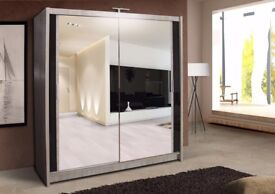 *⚫***DIFFERENT SIZES*⚫* BRAND NEW BERLIN SLIDING DOORS WARDROBE WITH SHELVES AND HANGING RAILS