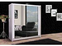 🌈🌈Black Brown White & Grey🌈🌈Brand New Berlin Full Mirror 2Door Sliding Wardrobe w Shelves &Rails
