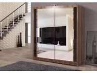 BRAND NEW - BERLIN 2 DOOR SLIDING WARDROBE WITH FULL MIRROR -EXPRESS DELIVERY