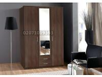 Dark Walnut -- 3 Door Wardrobe + 2 Drawers