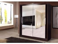 Bran New- Best Quality -Chicago 2 Sliding Mirror Door Wardrobe in Black White Walnut - Cheap Price