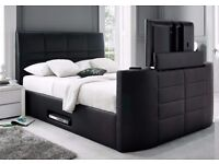 BRAND NEW 4ft6 DOUBLE OR 5FT KINGSIZE LEATHER TV BED + MATTRESS + DELIVERY