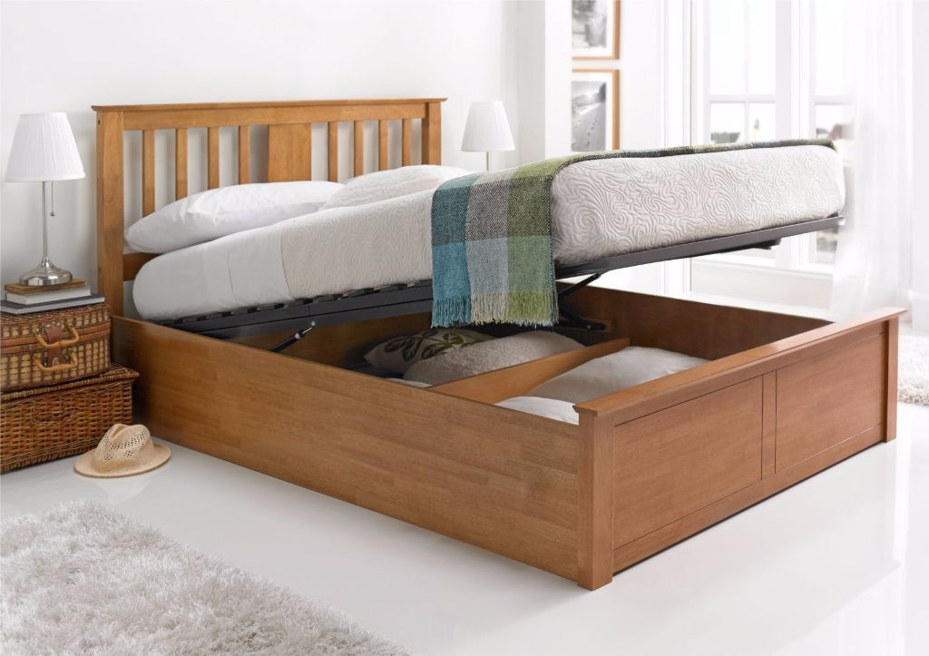 Brand New Malmo Oak Finish Wooden Ottoman Storage Bed in ...