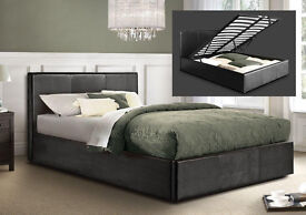 *7-DAYS MONEY BACK GUARANTEE* DOUBLE/SMALL LEATHER OTTOMAN STORAGE BED FRAME WITH CHOICE OF MATTRESS