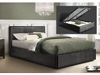 **FREE DELIVERY** DOUBLE/SMALL DOUBLE LEATHER OTTOMAN STORAGE BED FRAME WITH CHOICE OF MATTRESSES