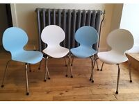 Strong, plastic, stackable kids' chairs