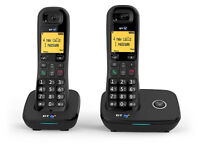 BT 1100 Cordless DECT Home Phone Twin Handset Pack with box