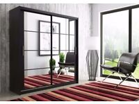 Luxury Brand New Dexter Sliding 2 Door German Wardrobe in Black and White Colors -Fast Delivery