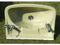 "Green Hand Basin Sink 22"" x 16"" Stamped Lotus Made In England (used)"