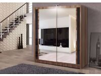 **GUARANTEED** BRAND NEW GERMAN 2 TWO DOOR SLIDING WARDROBE WITH MIRROR - EXPRESS DELIVERY